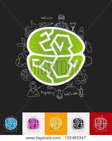 brain paper sticker with hand drawn elements
