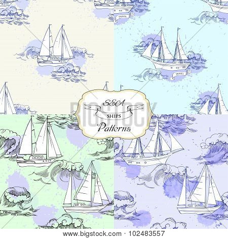 Set seamless patterns with ships