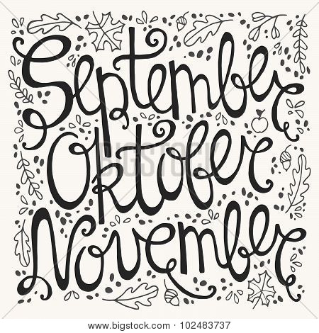 Hand Drawn Autumn Inscription Months