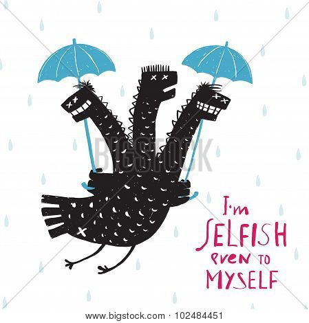 Comic Selfish Dragon in Rain with Umbrella Rough Hand Drawn Print Design