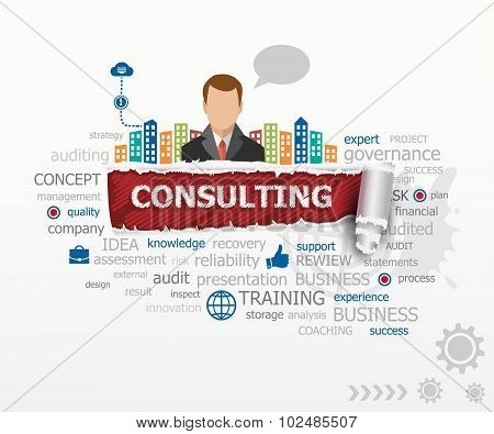 Consulting Word Cloud Concept And Business Man.
