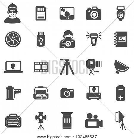 Photo black icons set.Vector
