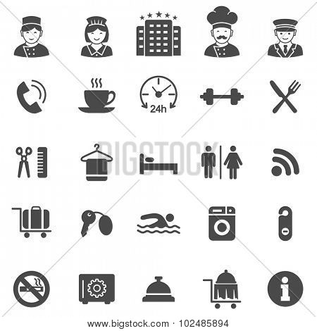 Hotel black icons set.Vector