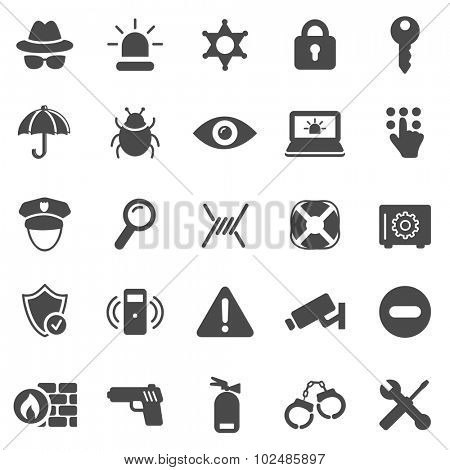 Security black icons set.Vector