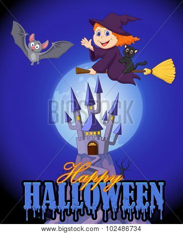 Halloween background with little witch and bat flying over castle