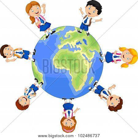 School children around the globe