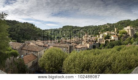 The medieval town of Largentiere, South France, true Panorama Shot
