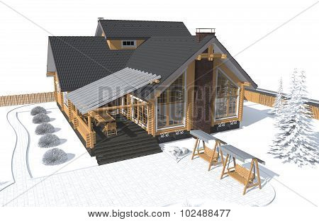 Architecture Model House With White Environment 3D