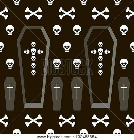 Seamless Halloween Pattern Of Coffins, Crosses, Skulls And Bones