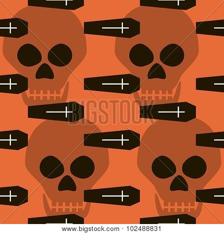 Seamless Halloween Pattern Of Coffins, Crosses And Skulls