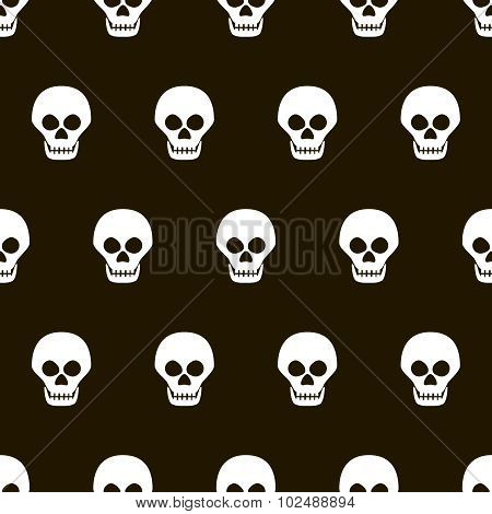 Seamless Halloween Black And White Pattern Of Skulls