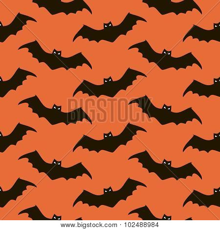 Seamless Halloween Pattern Of Spooky Bats
