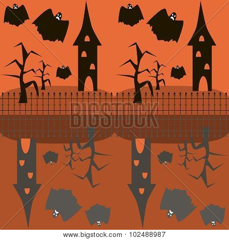 Seamless Halloween Pattern Of Ghosts Flying Around The Towers