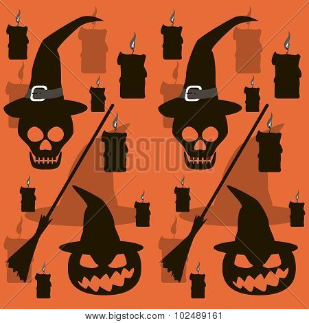 Seamless Halloween Pattern Of Skulls And Evil Pumpkins In Witch Hats