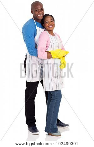 portrait of young afro american couple wearing cleaning gloves isolated on white