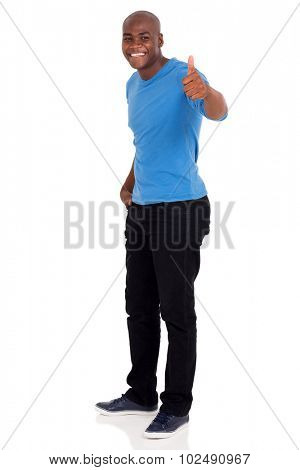 good looking young african man giving thumb up on white background