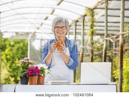 Beautiful mature women working in a greenhouse at the coffee break
