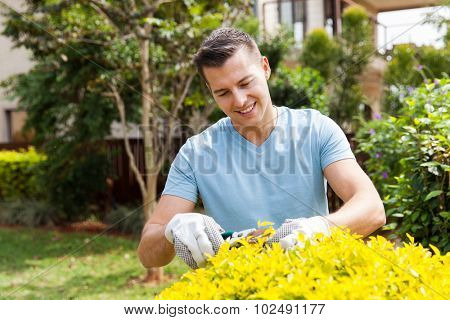 handsome young man pruning plant at home garden
