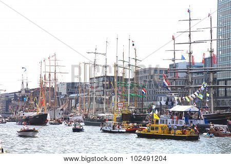 Several tallships in Amsterdam Particiating At