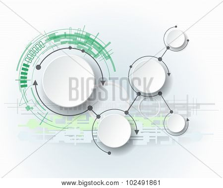Abstract molecules with 3d paper circle and blank space for your content