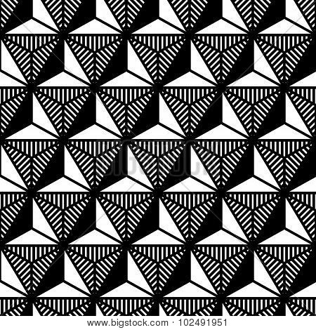 Abstract Black And White Triangle Geometric Pattern In Style Of The 80S
