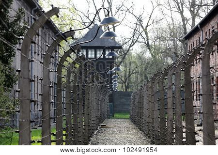 OSWIECIM, POLAND - APRIL 16 2015:Electric fence in former Nazi concentration camp Auschwitz I Poland