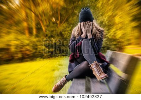 depressed female in autumn season