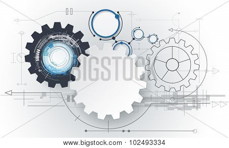Vector abstract futuristic 3d white paper gear wheel on circuit board