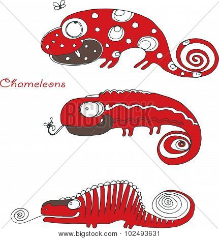 vector hand drawing funny red chameleons
