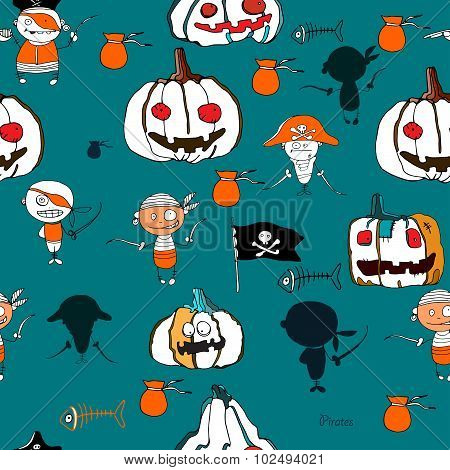 seamless vector little funny pirates and halloween pampkins on green background with silhouettes for