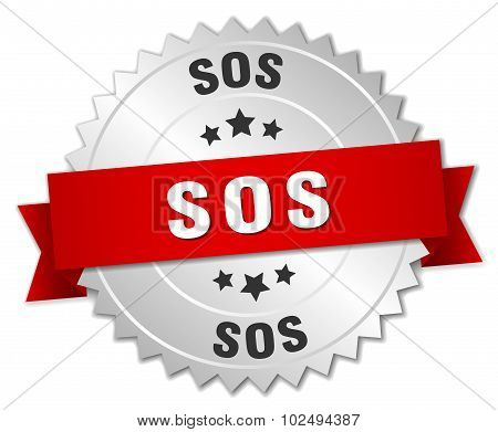 Sos 3D Silver Badge With Red Ribbon