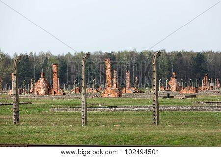OSWIECIM, POLAND - APRIL 16 2015: Auschwitz II Birkenau. Poland. The biggest nazi concentration camp in Europe and now the State Museum Auschwitz-Birkenau.