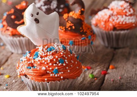 Delicious Halloween Cupcakes With A Spooky Close-up. Horizontal