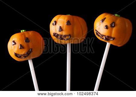 Halloween Cake Pop Pumpkin Jack Close Up Isolated On A Black