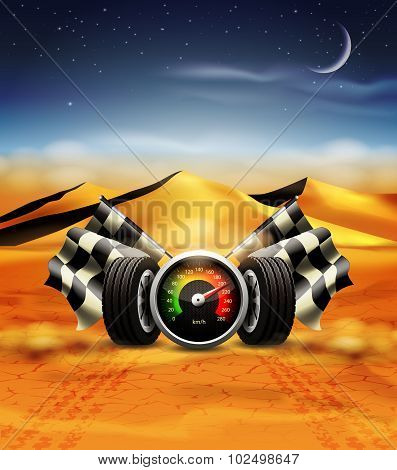 Racing background with speedometer, checkered flags and wheels.