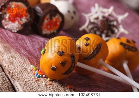 Beautiful Halloween Cake Pop Pumpkin Jack Macro. Horizontal