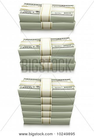 conjunto de notas de banco do dólar embalado dinheiro