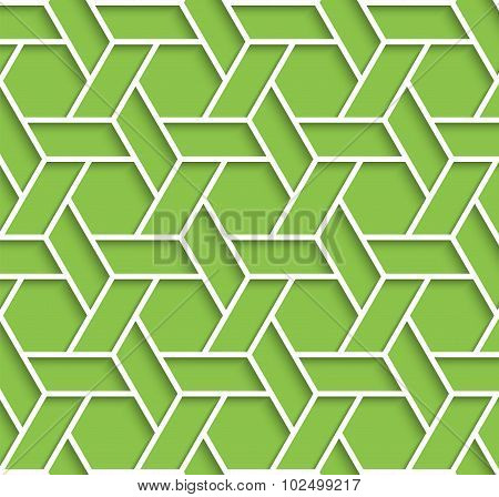 Geometric Green And White Background With Outline Extrude Effect