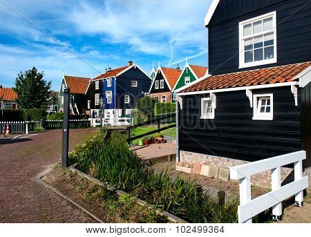 Cozy streets of Marken, an old idyllic village in the North of Holland