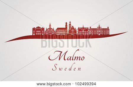 Malmo Skyline In Red