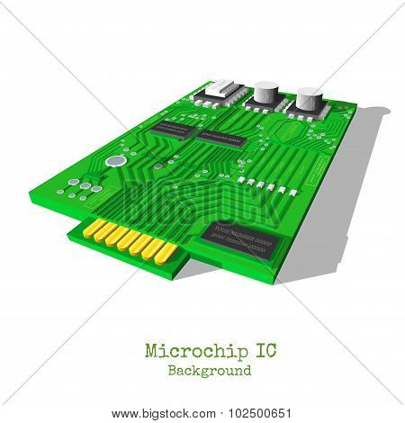 realistic 3d microchip isolated on white