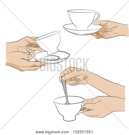 hand with teacup