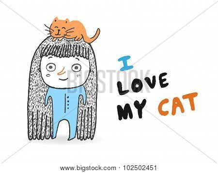 I Love My Cat, Vector Illustration