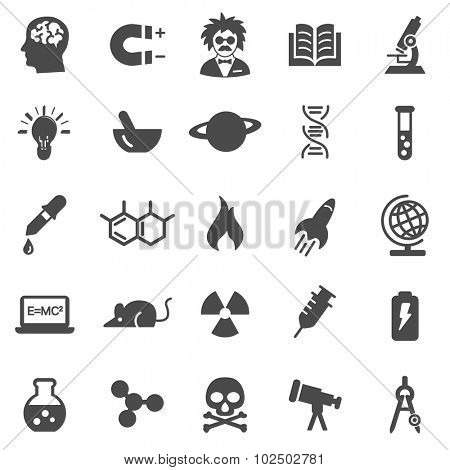 Science black icons set.Vector