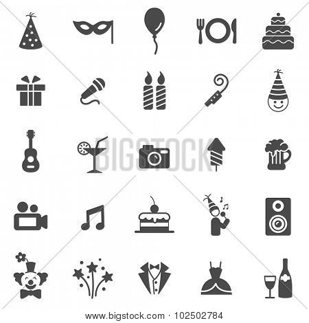 Party black icons set.Vector