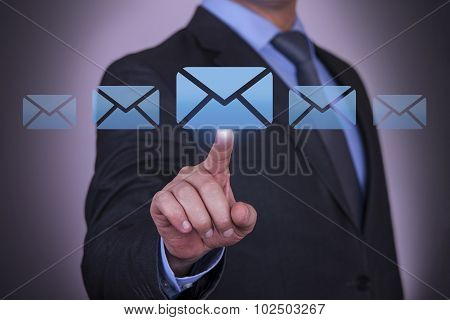 Email Send Communication Concept on Touch Screen