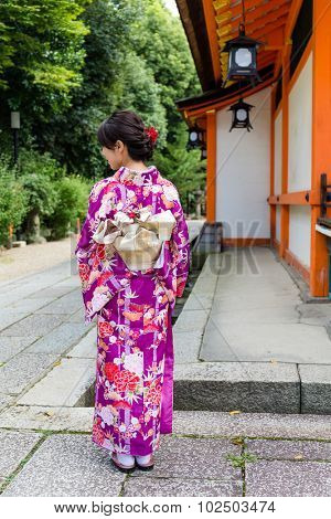 Back view of the Japanese Woman with Kimono