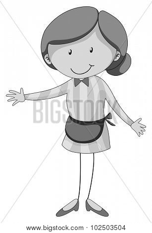 Woman wearing apron in black and white illustration