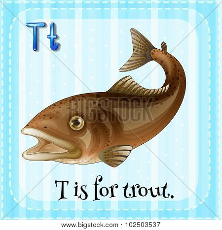 Flashcard of T is for trout illustration