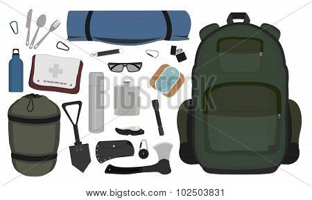 Camping items set. Color
